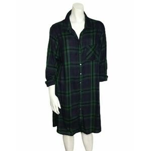 Old Navy Swing Shirt Dress Plaid Tunic Button Up